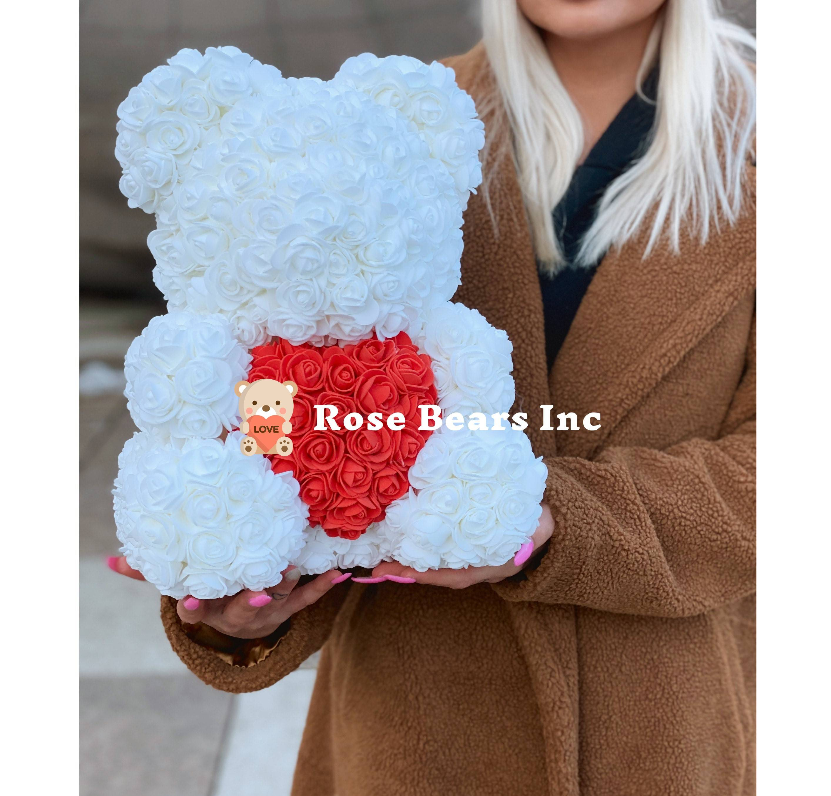 rose bears inc, white rose bear