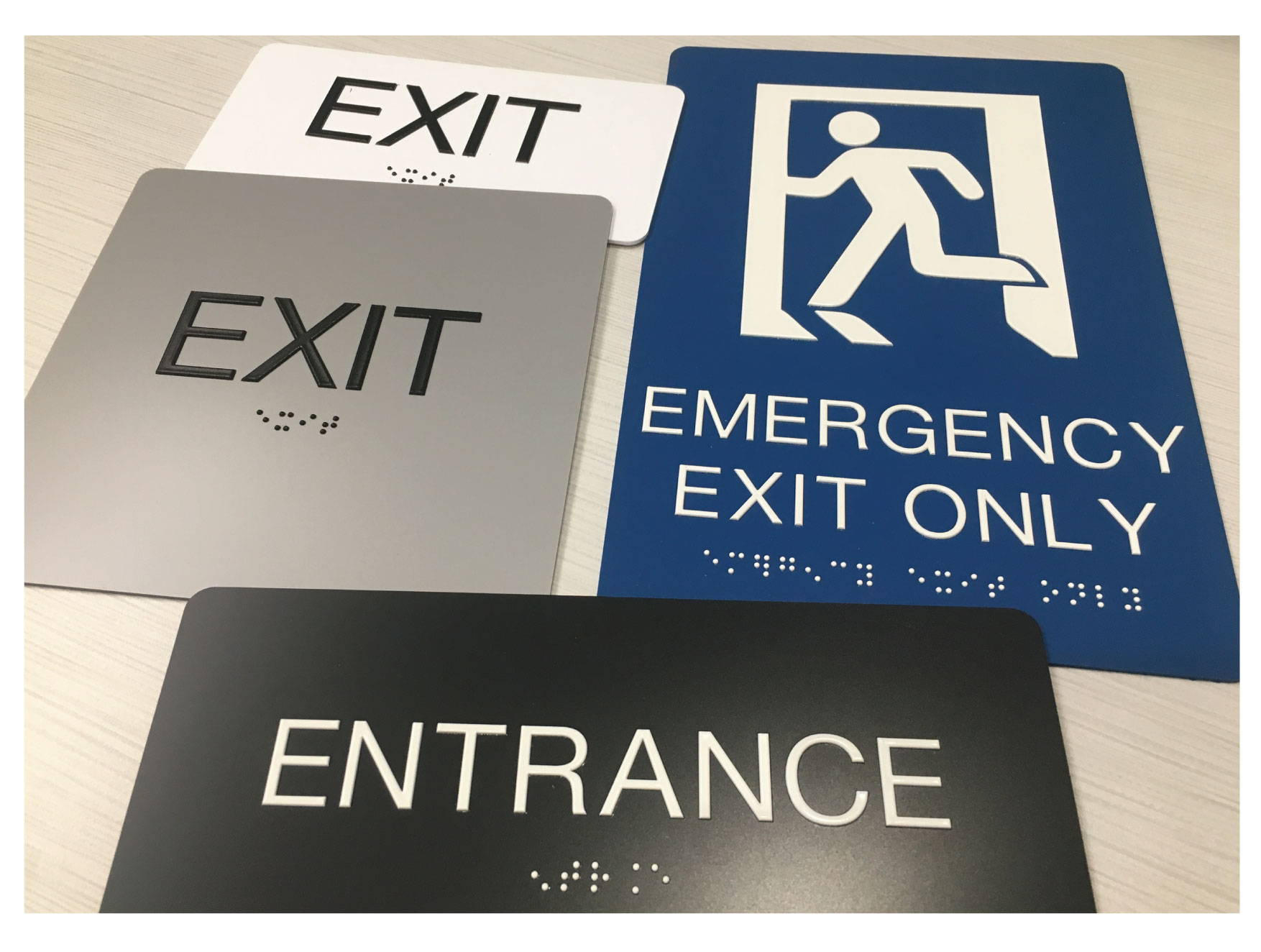 ADA Exit and Entrance Signs with Grade II Braille, Compliant ADA Signs