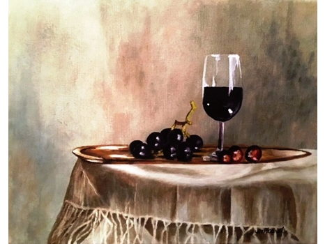 "Eileen McCarrol ""Wine and Grape"" Still Life"