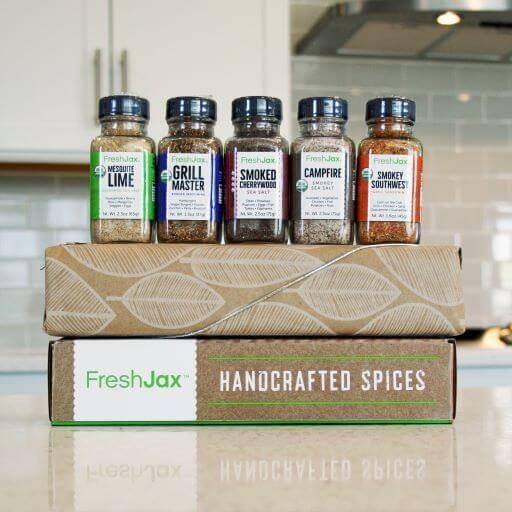 FreshJax organic spices smoked spices gift set with brown leaf wrapping paper