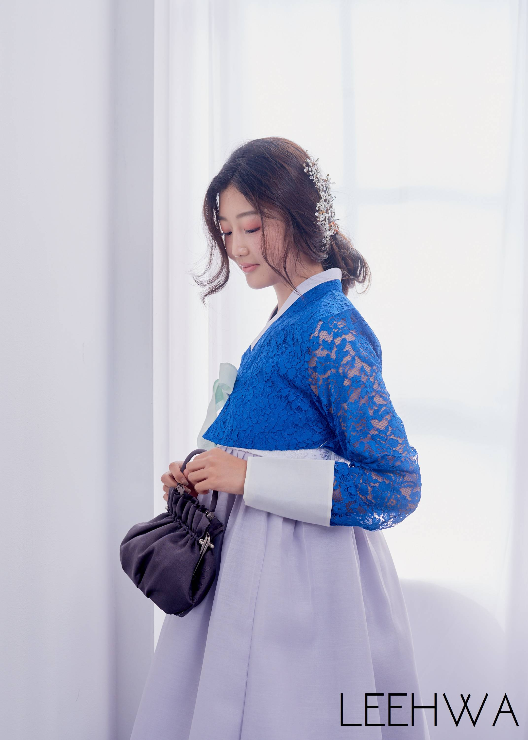Modern hanbok with lace top and grey skirt