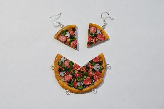 Супер реалистичная, аппетитная, миниатюрная пицца серьги и подвеска на цепочке