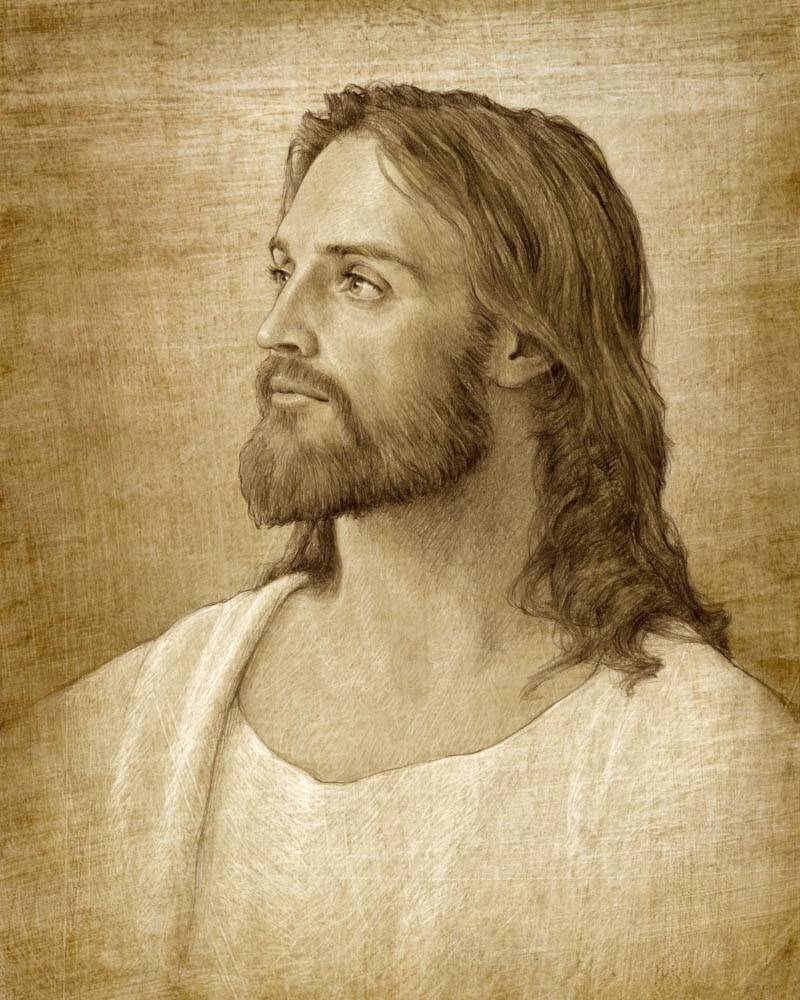 Sepia-toned sketched portrait of Jesus Christ.