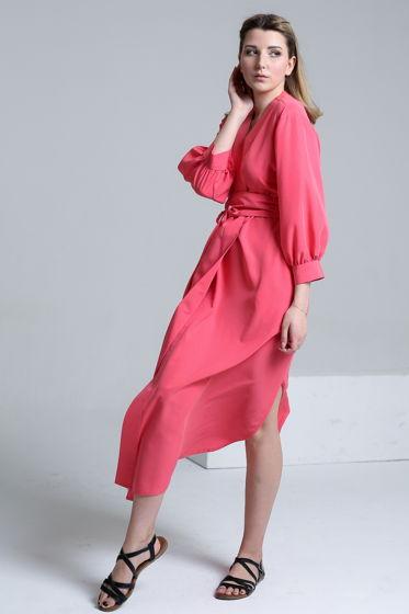 Платье-кафтан кораллового цвета