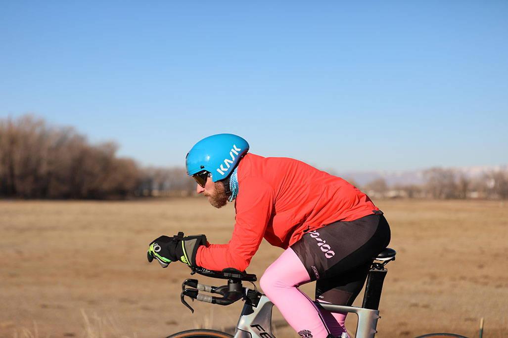 biking with field in background