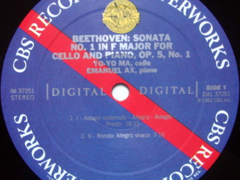 CBS Digital / YO-YO MA-AZ, - Beethoven Cello Sonatas No.1 & 2, MINT!