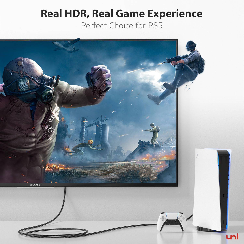 8K HDMI 2.1 Cable, 4K@120Hz, Newest 4K Apple TV, Samsung QLED TV, Sony 8K UHD TV, Xbox Series X, PS5/4, Blu-ray player, Soundbar, Yamaha receiver