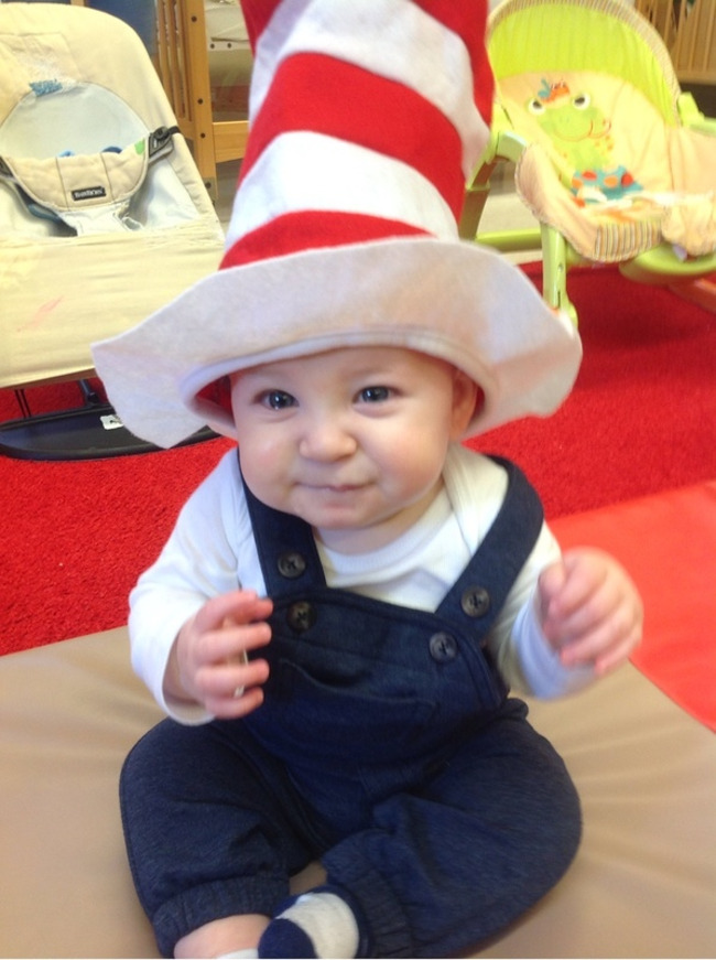 cute baby in Cat in the Hat hat at Primrose School of Clear Lake: Child care center in Clear Lake, TX 77062