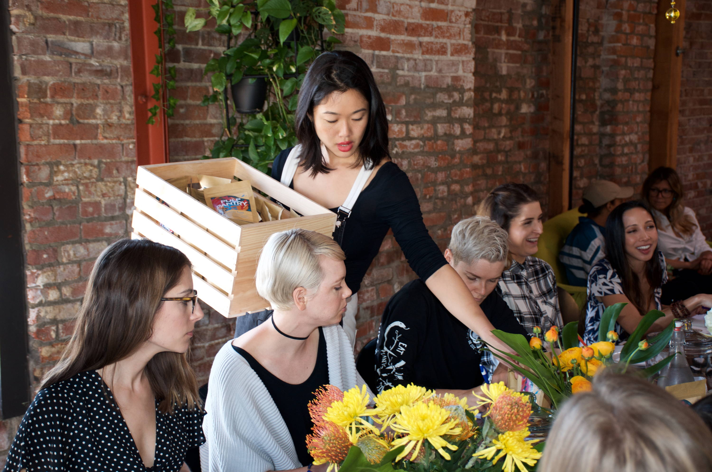 Pulp Pantry co-founder, Ashley Miyasaki at vegan brunch