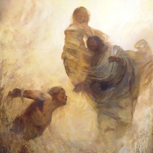 Painting of Heavnly Father and Heavenly Mother bringing Adam to life.