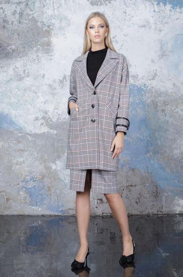 Пальто черно-белое Bonali 7011-057