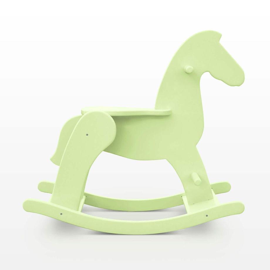 """Зеленая лошадка-качалка из дерева """"macaron фисташка"""""""