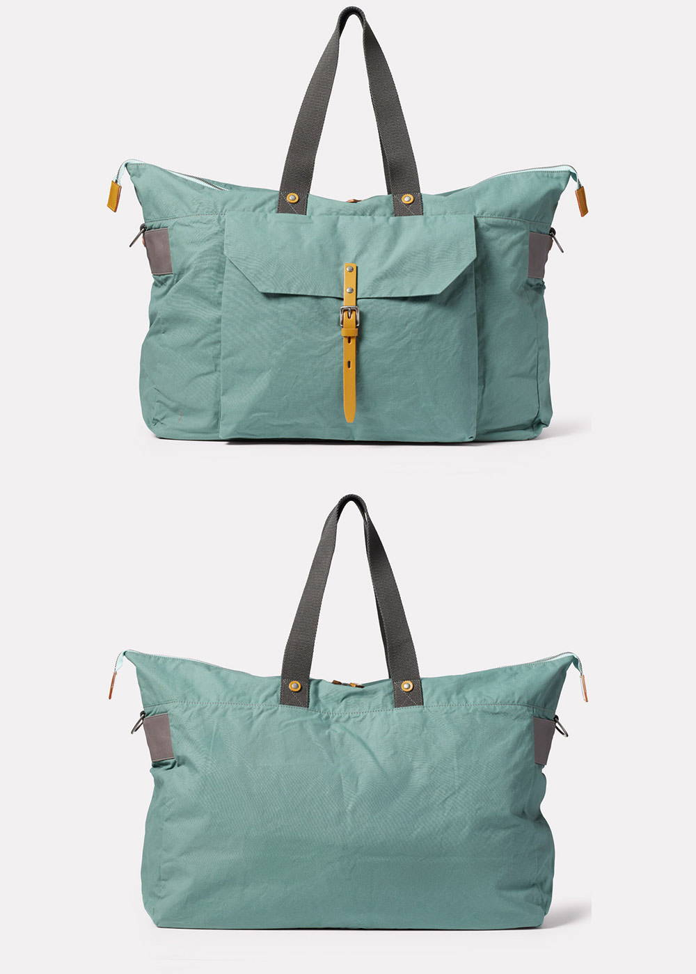 Freddie Waxed Cotton Holdall in Green Front and back