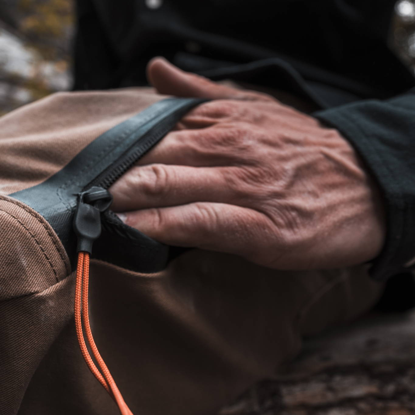 Close up of hand pocket on Nelson Pant by Foehn