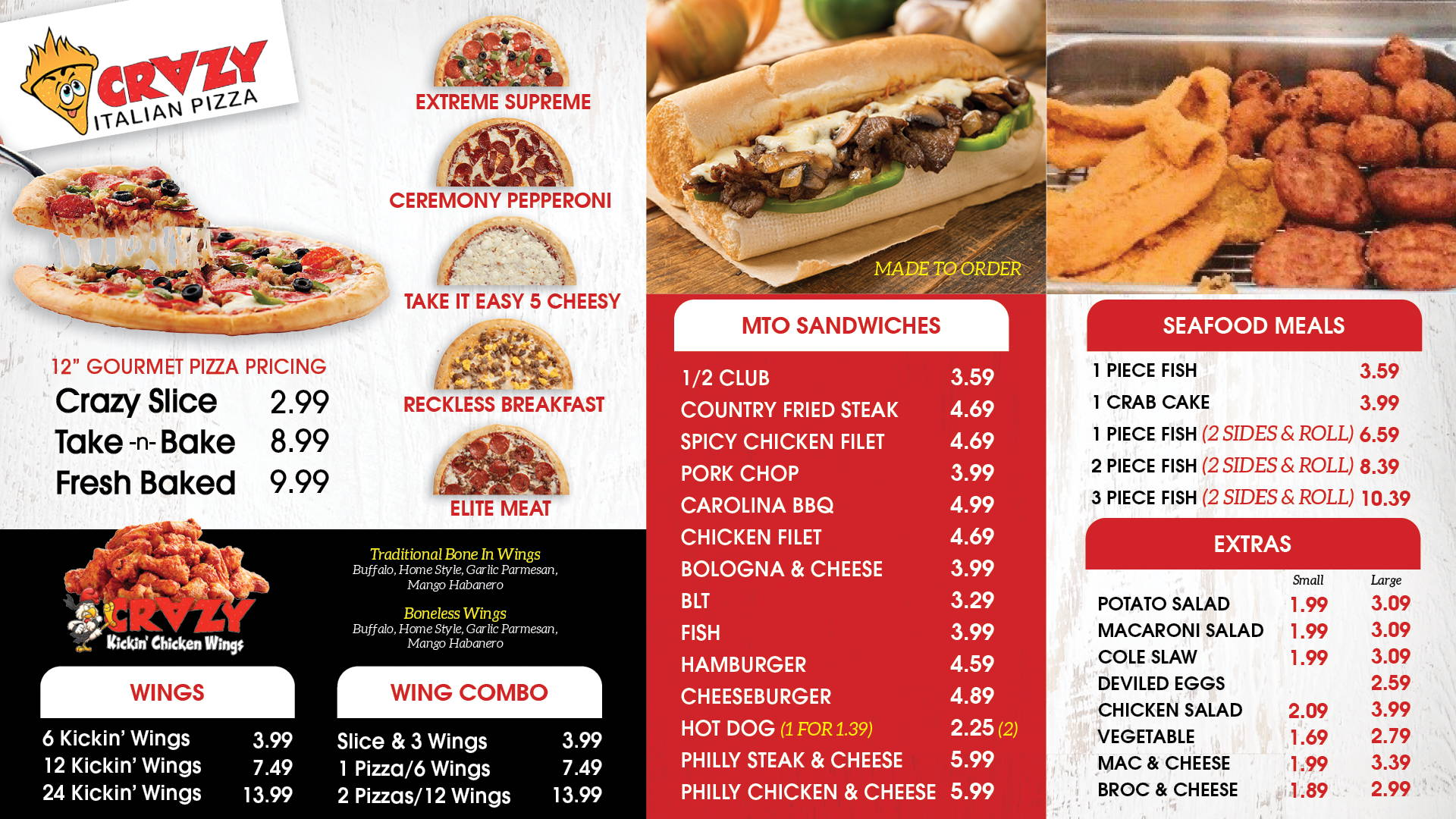Pizza, Sandwich & Seafood Menu