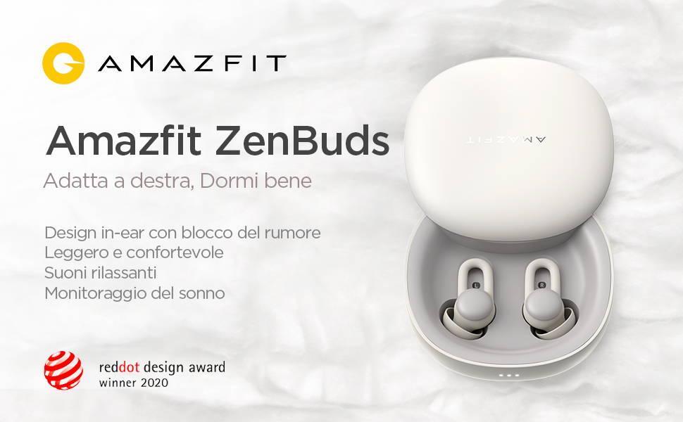 Amazfit Zenbuds - Forma perfetta per un sonno perfetto  Suoni rilassanti ti cullano nel sonno | Monitora la qualità del sonno Massima comodità per tutta la notte | Mascheramento dei rumori fastidiosi