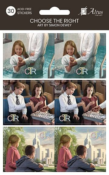 LDS art stickers featuring various scenes of children participating in church activities such as baptism and the sacrament.
