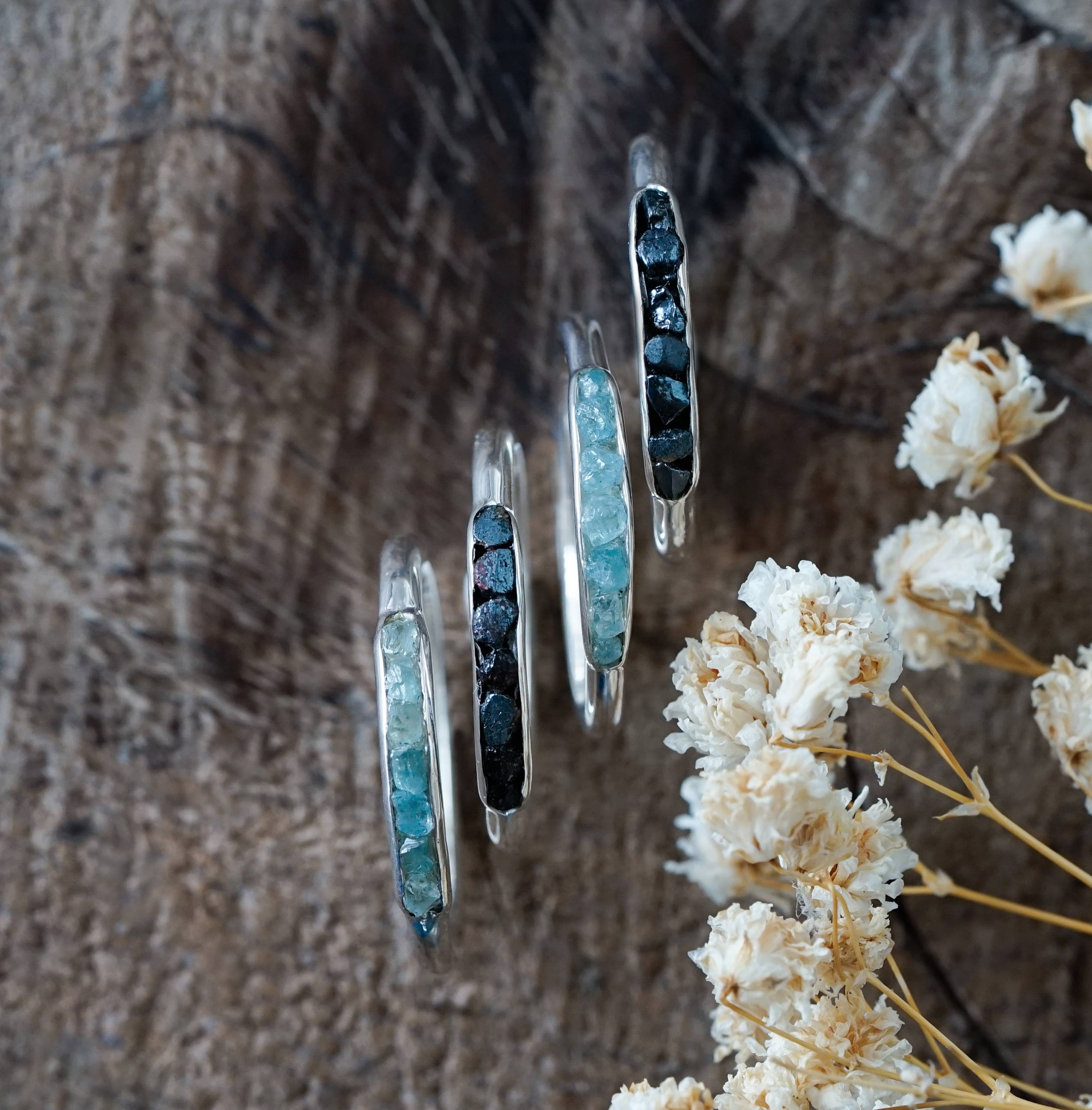 Black Hematite Ring with Hidden Gems and Aquamarine Ring with Hidden Gems