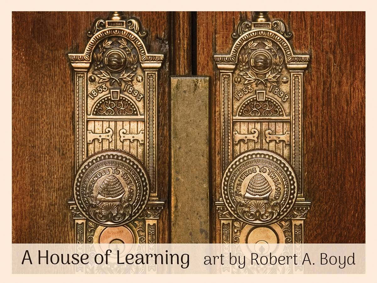 Cover of mini card pack featuring an up-close photo of temple door handles by Robert A. Boyd.