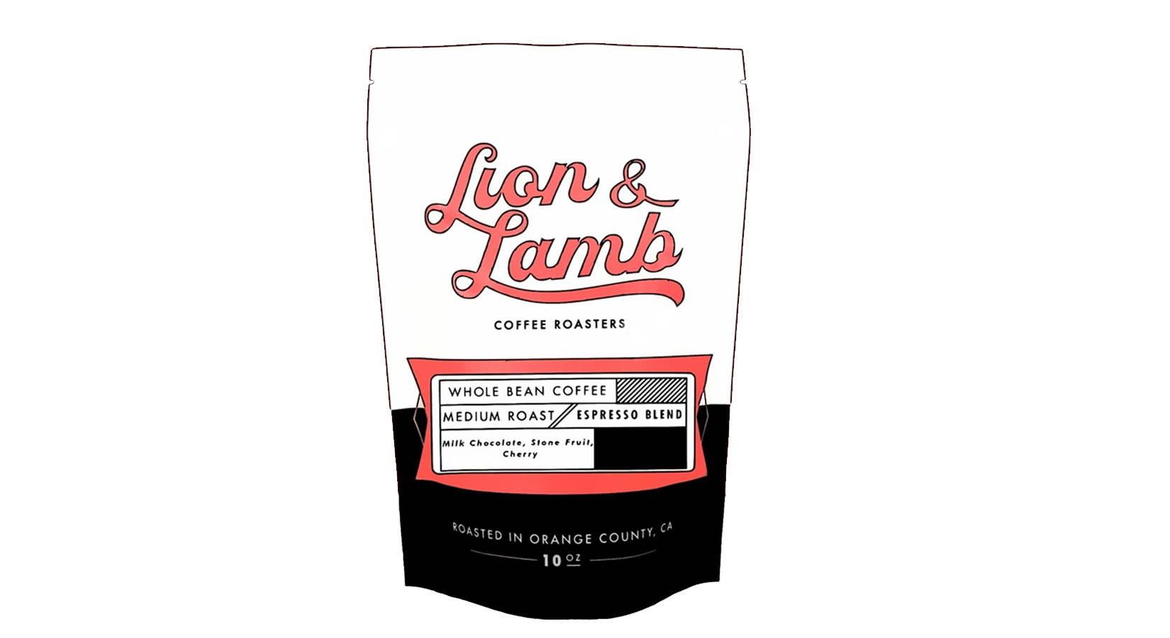Cartoon artwork of a coffee bag