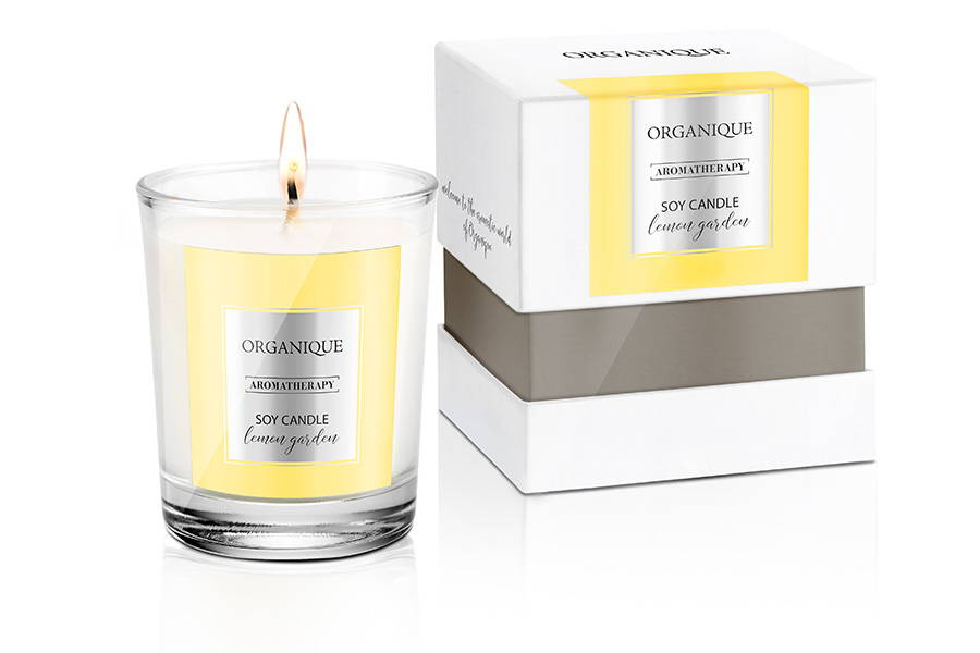 Organique Natural Soy Candle - Lemon Garden Scent 180g glass with elegant box,