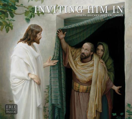 2022 Christian calendar featuring a biblical illustration of Jesus entering a home.