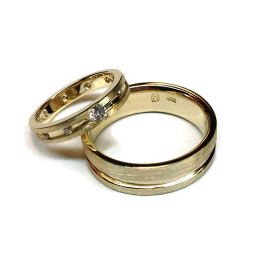 2 gold rings with diamonds polished and cleaned