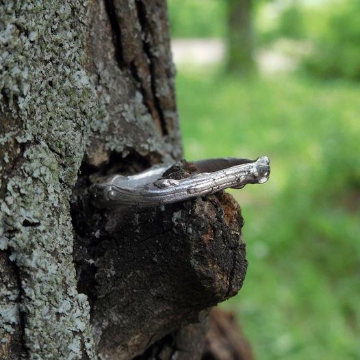 Серебряное простое кольцо Ветка, растительное природное минималистичное украшение