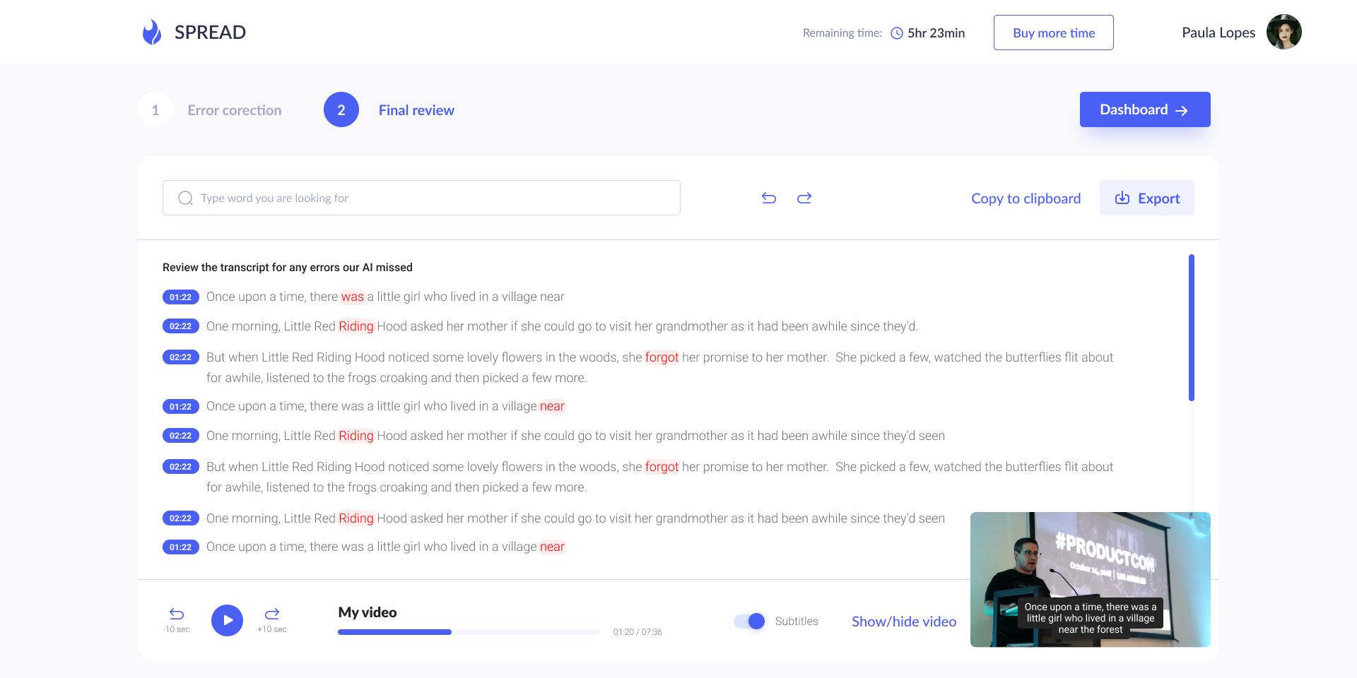 Final review screen