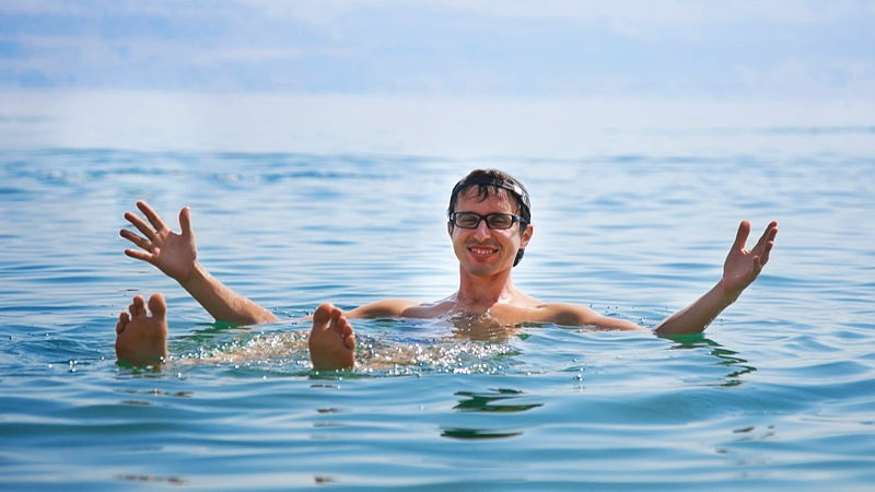 Swimming in Dead Sea, Jordan
