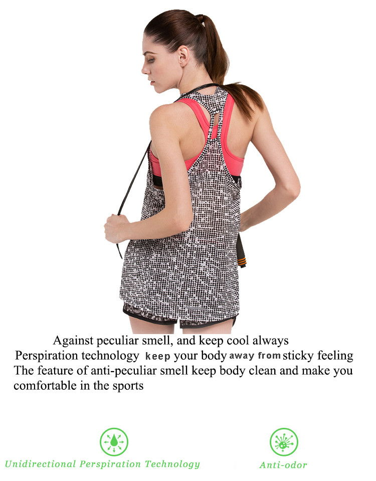 Against peculiar smell,and keep cool always. Perspiration technology keep your body away from sticky feeling. The feature of anti-peculiar sell keep body clean and make you comfortable in the sports.