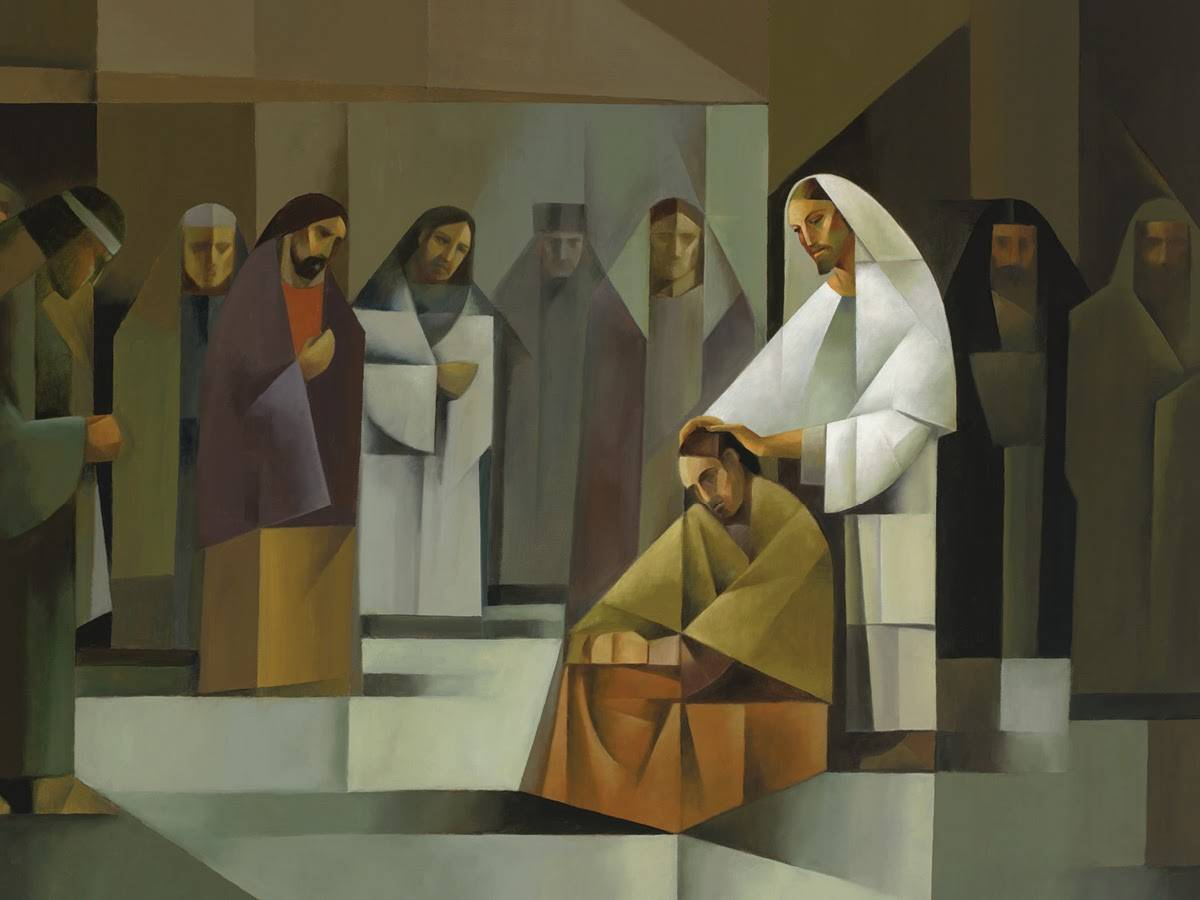 Sacrocubism painting of of Jesus placing his hands on the head of a disciple to ordain him an apostle.
