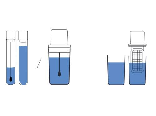 Schema of a tester filled with liquid
