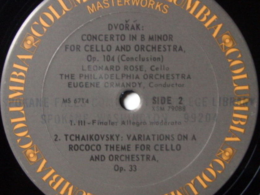 Columbia / ROSE-ORMANDY, - Dvorak Cello Concerto, EX!