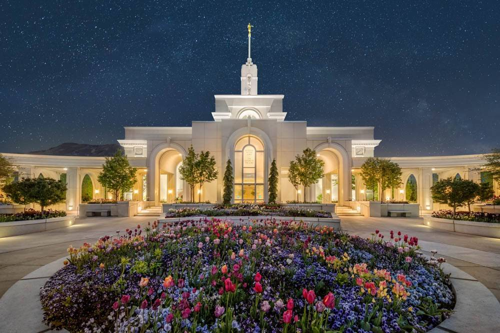 LDS art photo of the Mount Timpanogos Temple and circular flower bed against a night sky.