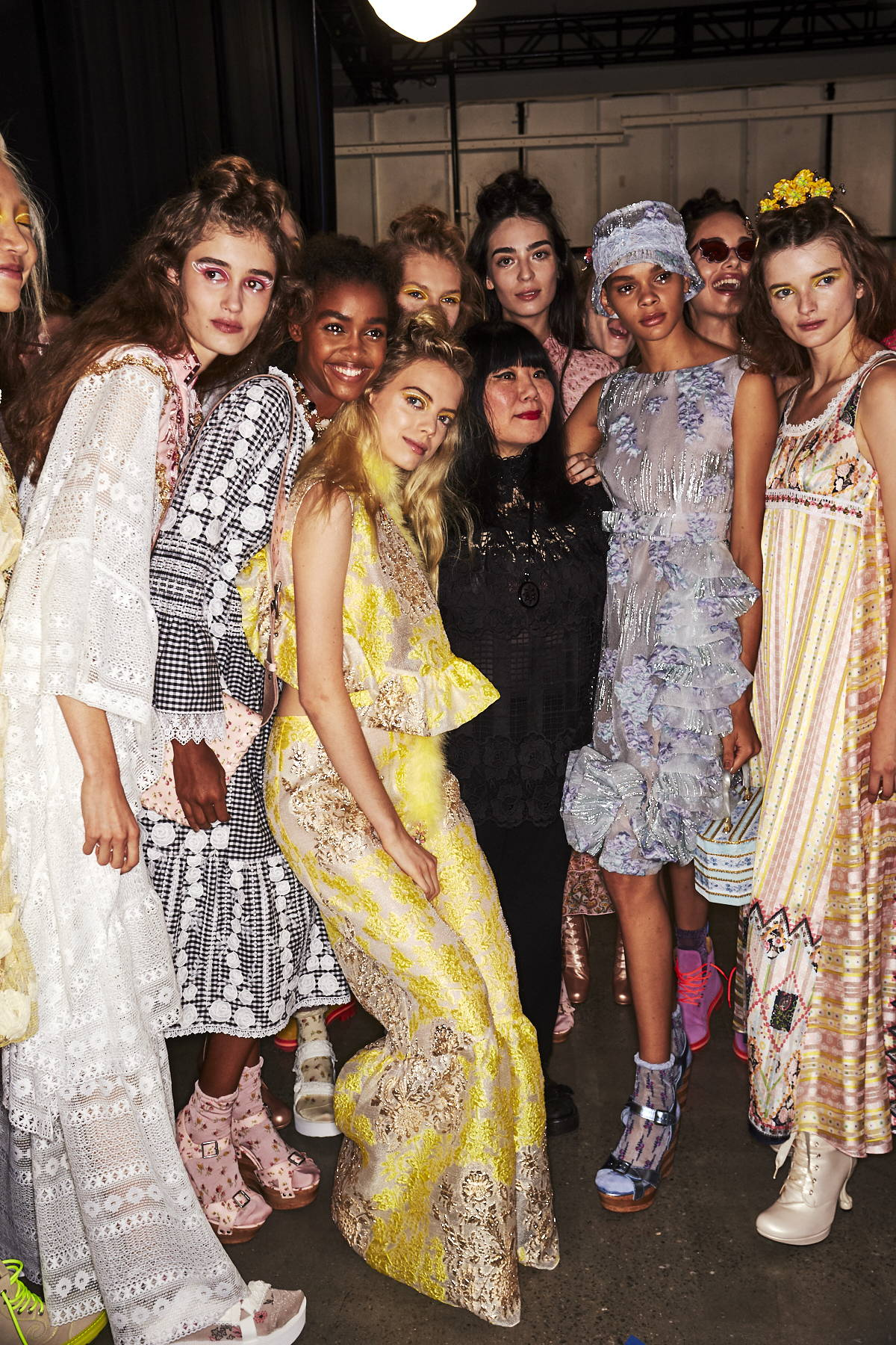 Models posing Behind the Scenes at the Anna Sui SS20 Fashion Show