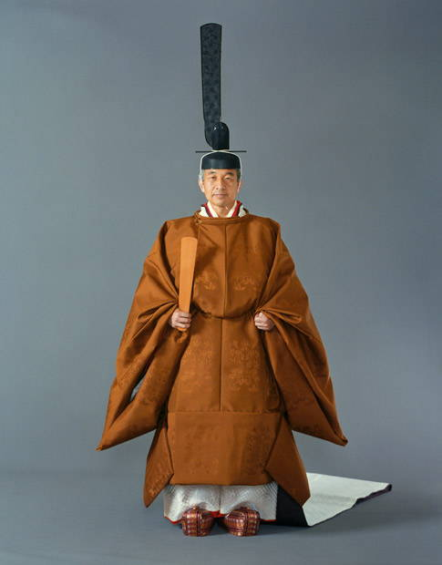 Emperor Akihito in his ceremonial hemp coronation robes