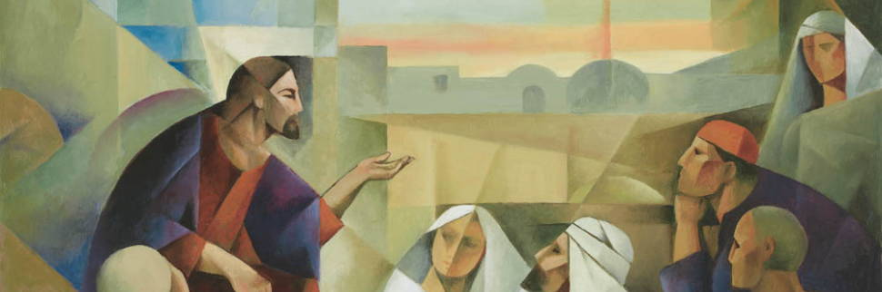 Banner image featuring an abstsract painting of Jesus teaching a multitude.