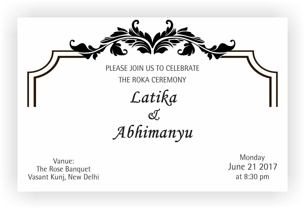 roka ceremony invitation wordings chococraft