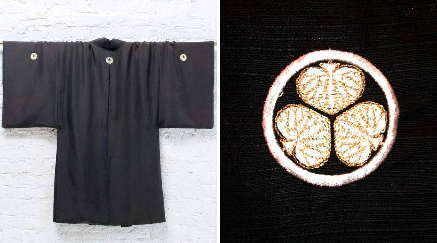 """Picture of embroidered family crest """"mon"""" on a japanese mens kimono"""