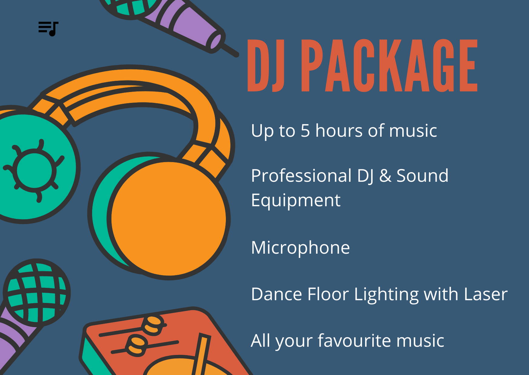 List of DJ Package inclusions available at Photobooths Newcastle