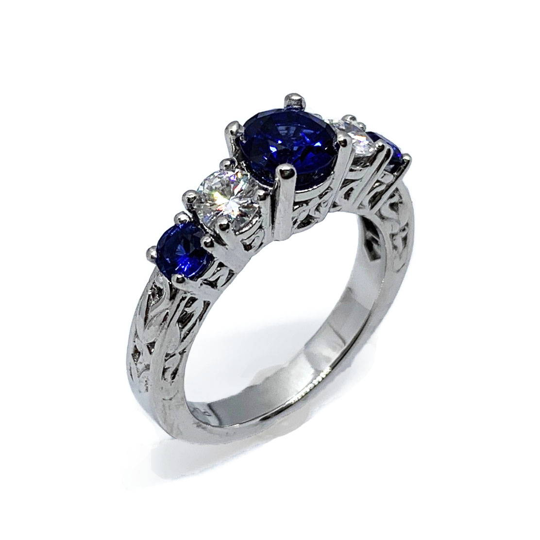Platinum Sapphire Vintage Style Engagement Ring