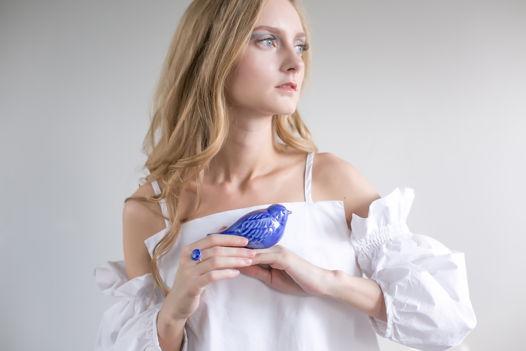 Керамические птички светло-синие