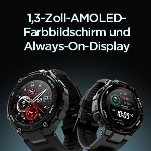 Amazfit T-Rex - 1,3-Zoll-AMOLED-Farbbildschirm