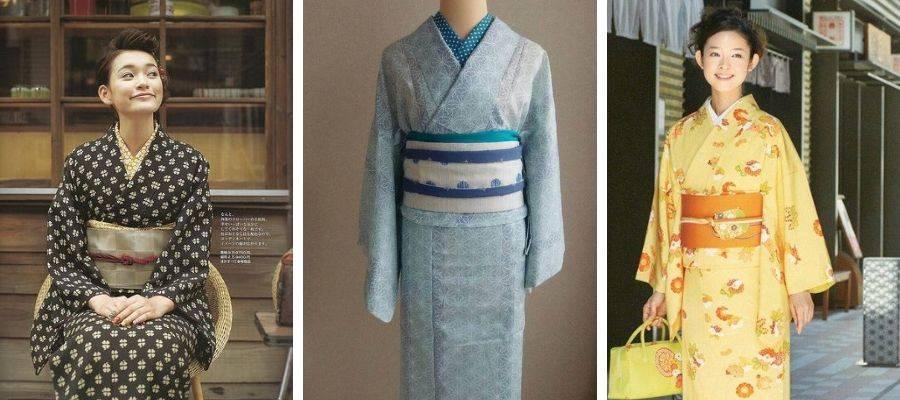 Women wearing Komon Kimono