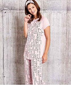 Model in ThisisJ V-design bamboo pajamas
