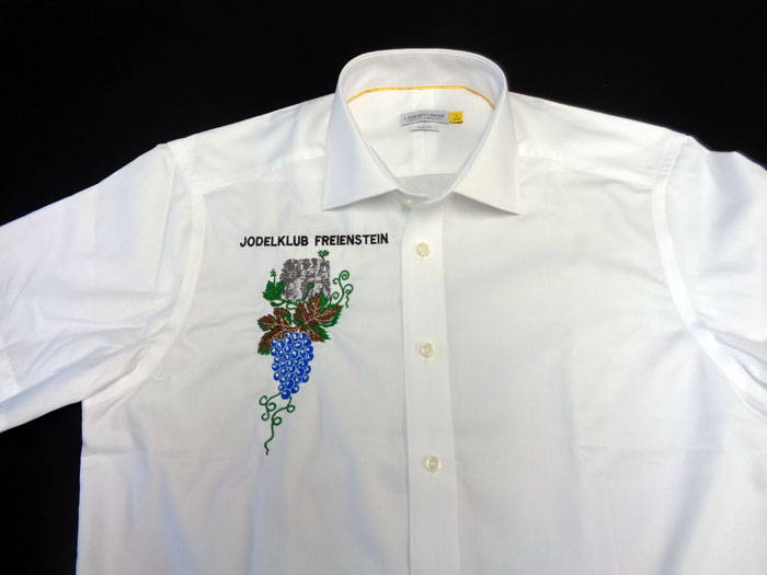 Hochwertiges Hemd bestickt mit Vereins Logo Jodel Klub Freienstein zürich
