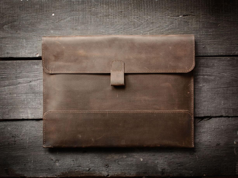 Папка для документов А4 / Чехол для MacBook 13` -SOLID- цвет Коньяк