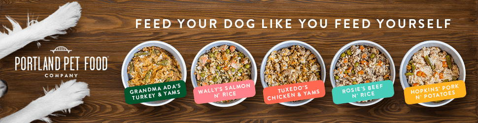 All five of Portland Pet Food Company's human-grade dog meals designed for picky dogs.
