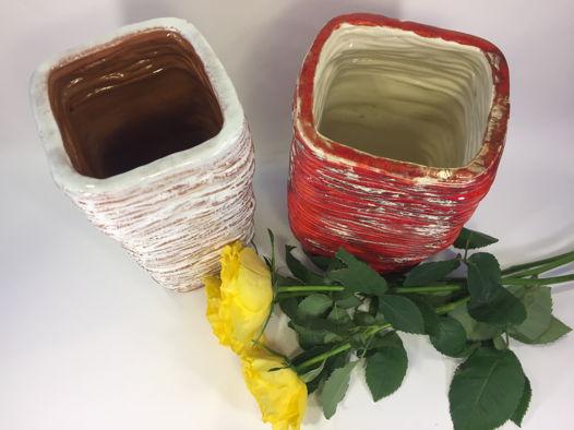 """Керамические вазы ручной работы """"Красное и белое"""". Высота 21 см."""